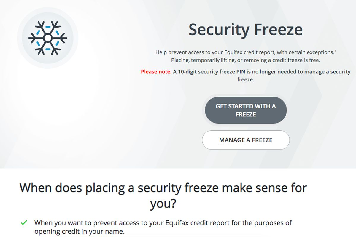 Equifax allows users to freeze their credit reports by logging into their website.