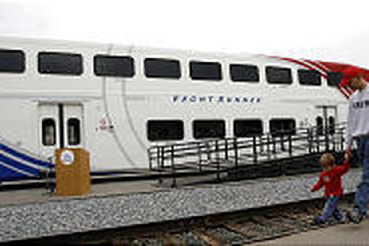 UTA unveils its new commuter rail car this past Oct. 6. Voters approved extension of commuter rail.
