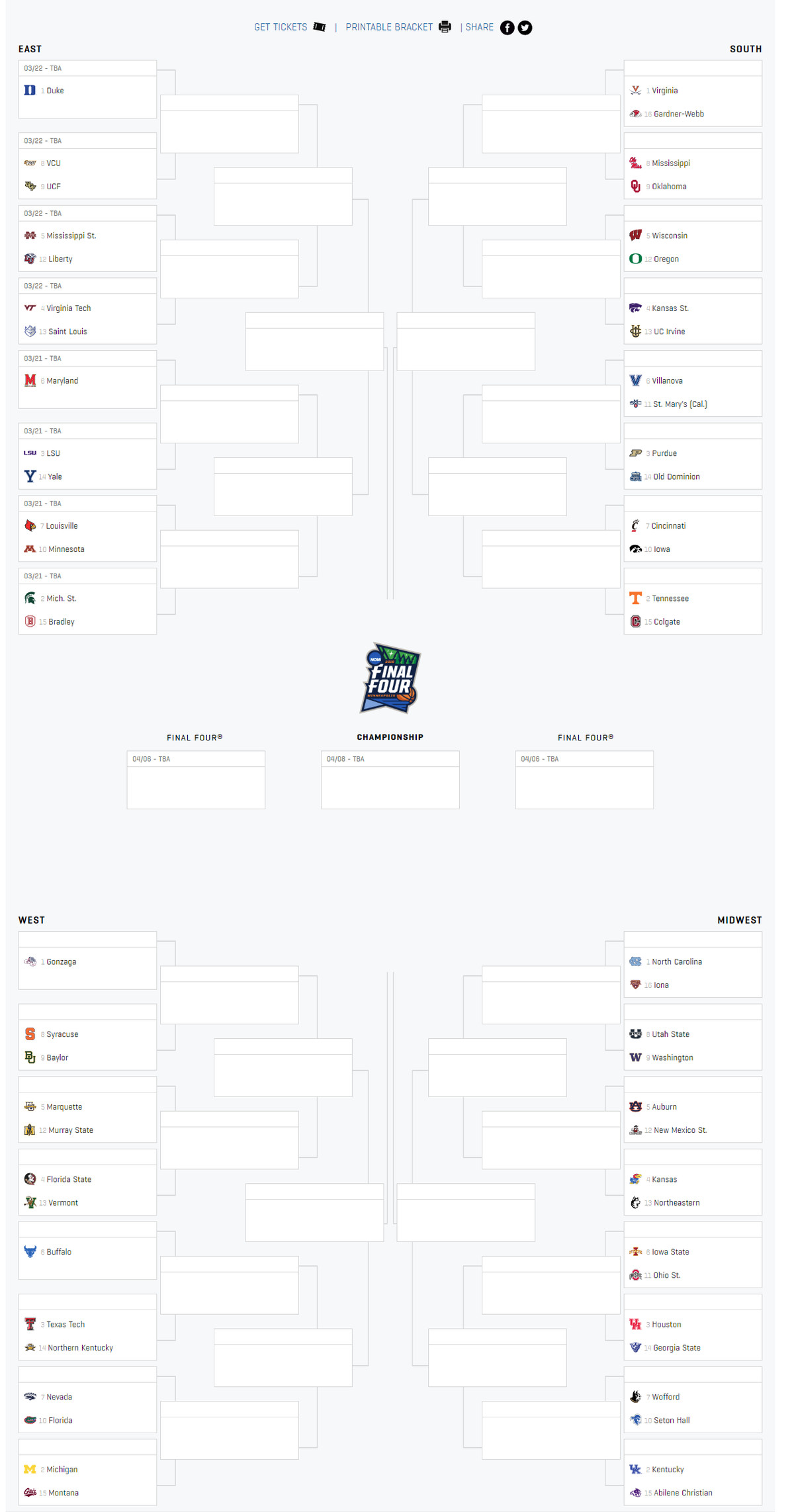 Ncaa Tournament Bracket 2019 Revealed Get One Here A Sea Of Blue