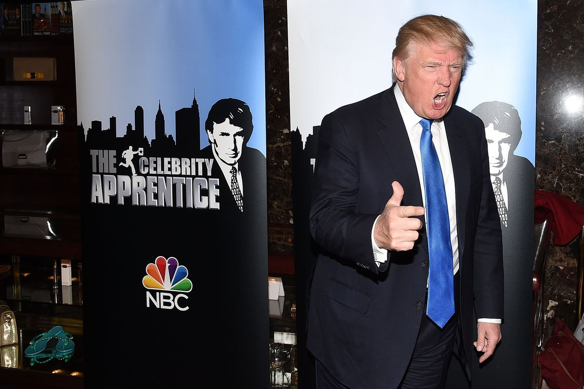 Donald Trump poses on the red carpet for a Celebrity Apprentice event in New York City in February 2015.