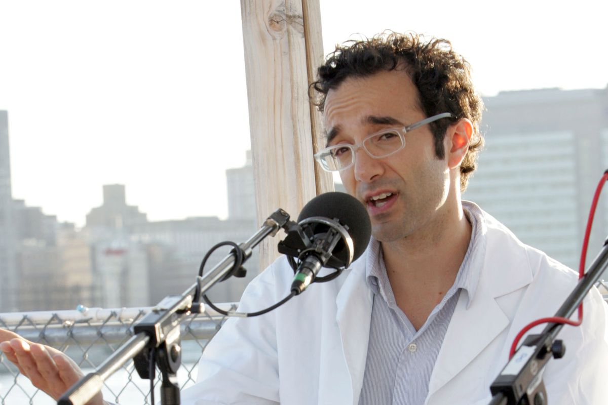 Radiolab host and producer Jad Abumrad speaks into a microphone