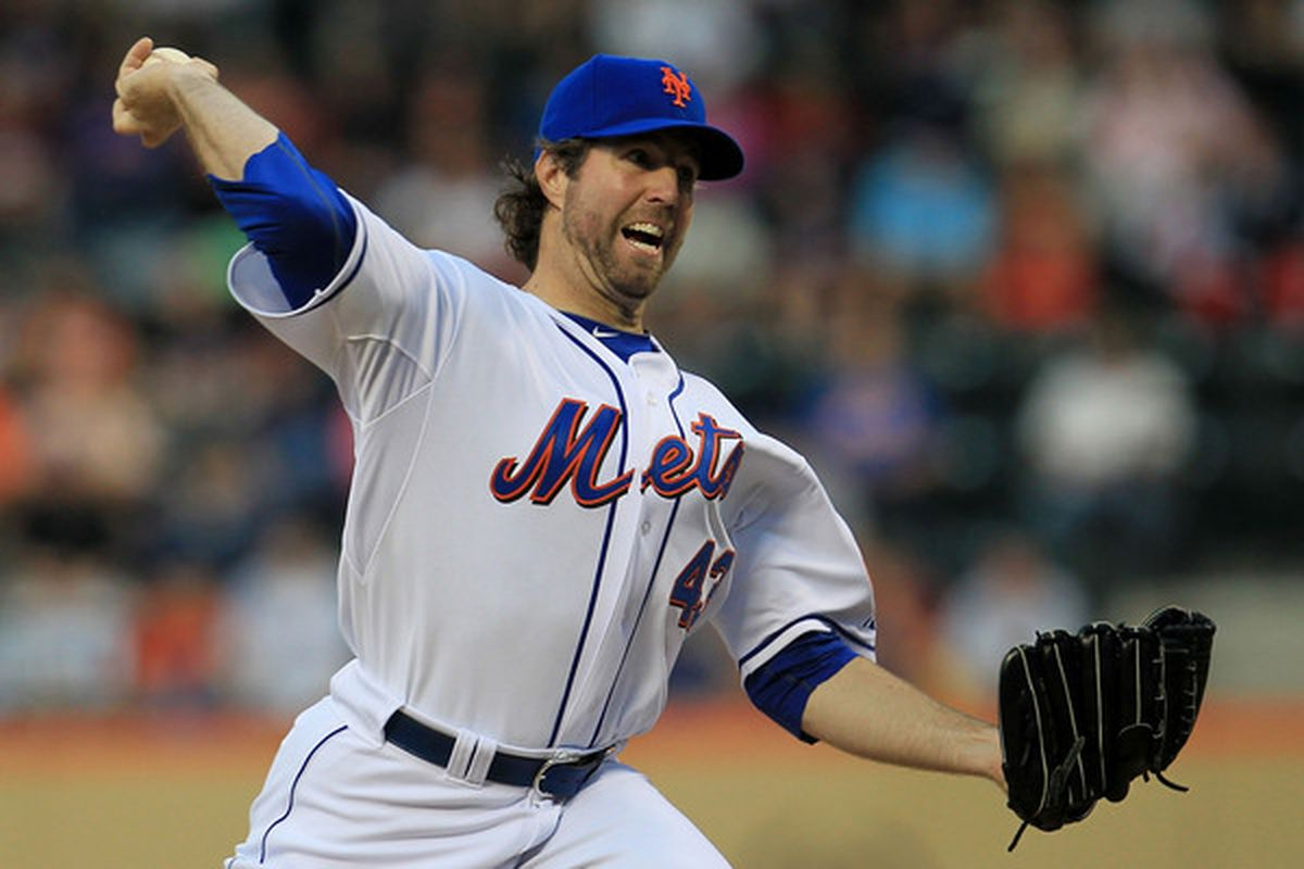 NEW YORK - MAY 25: R.A Dickey #43 of the New York Mets pitches against the Philadelphia Phillies on May 25, 2010 at Citi Field in the Flushing neighborhood of the Queens borough of New York City.  (Photo by Chris McGrath/Getty Images)