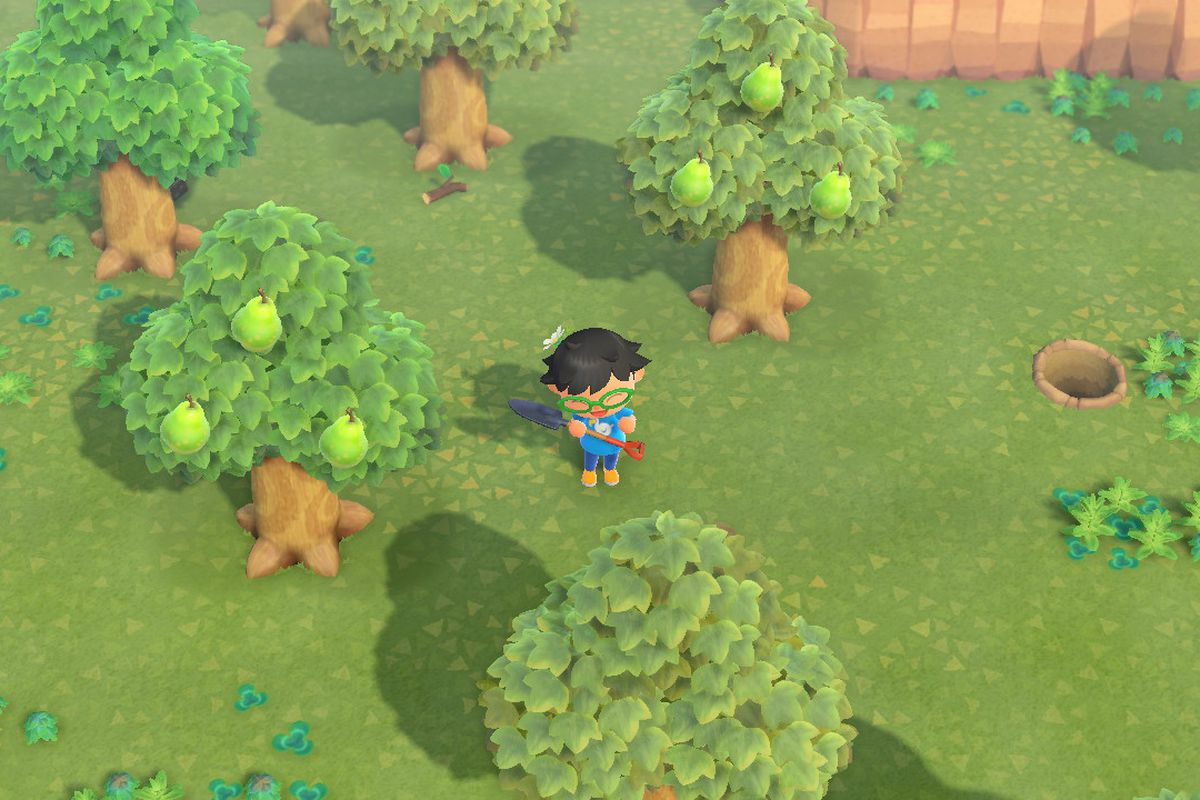 A villager in Animal Crossing: New Horizons stands among some trees