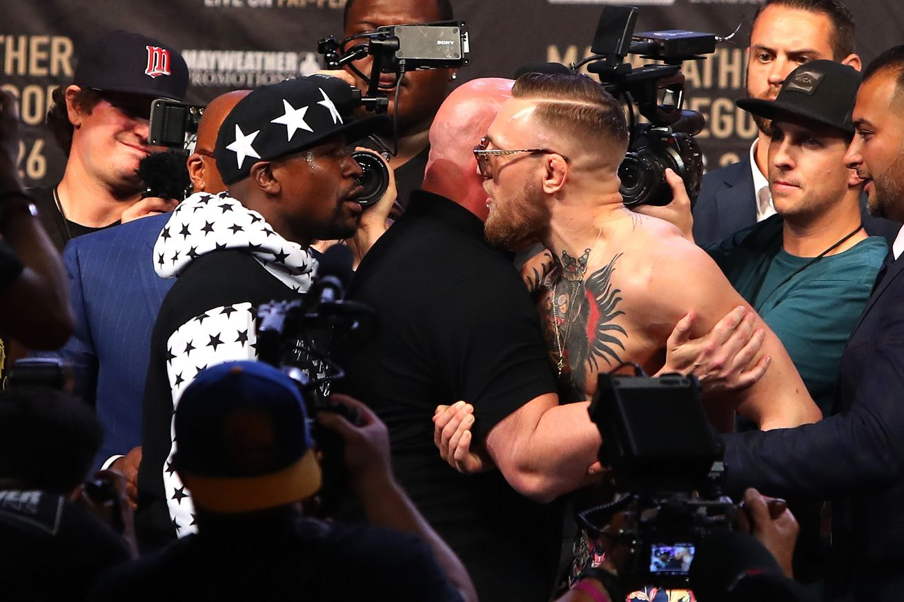 Mayweather vs. McGregor: Scuffle erupts on stage in Brooklyn   'Form Voltron!'