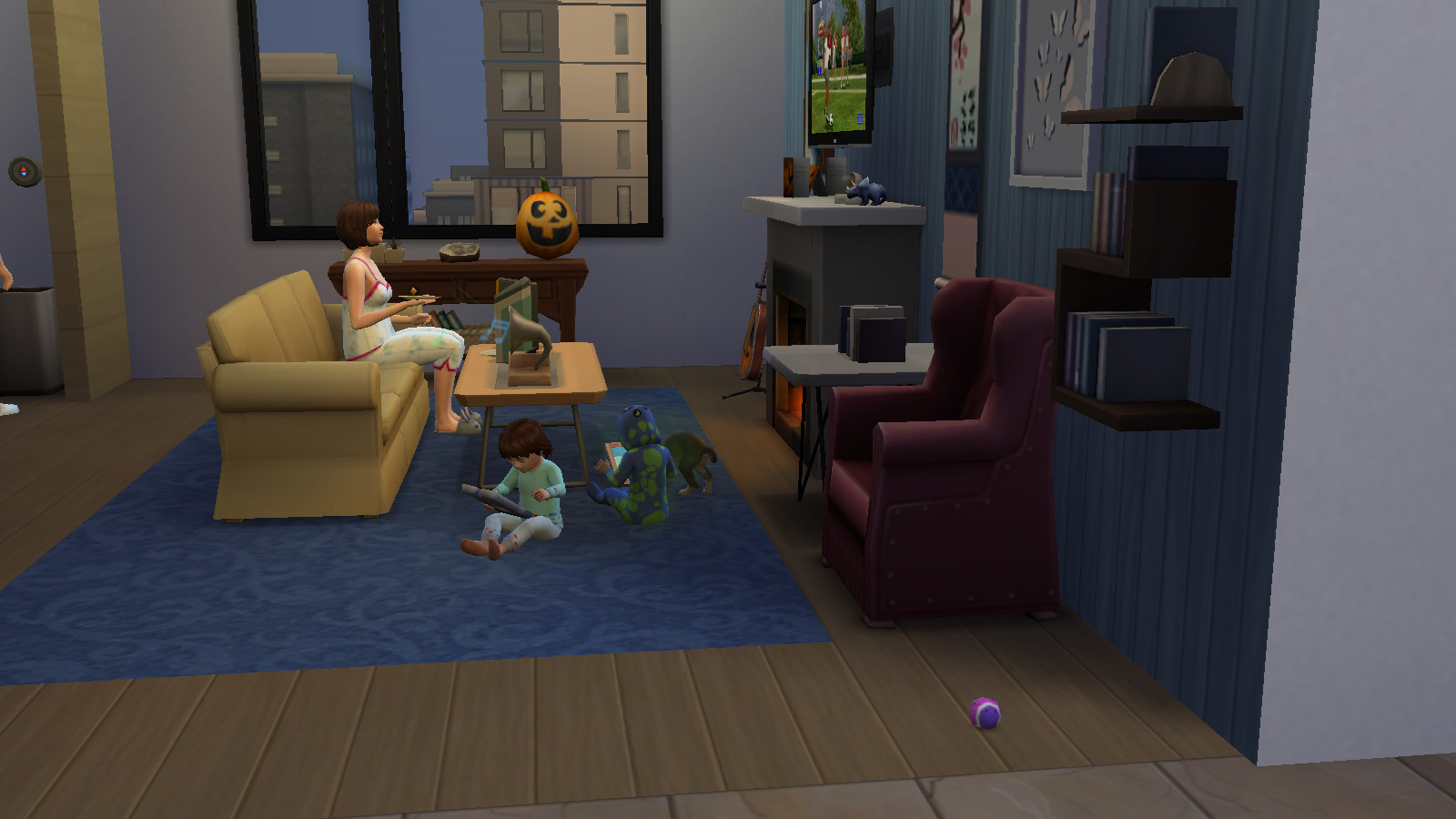 two toddlers in the sims 4 peacefully play with tablets. while an adult sits on the couch, getting some much needed relaxation