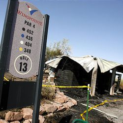 The restroom at Hole 13 at Wingpointe Golf Course was destroyed last night due to the wildfire.
