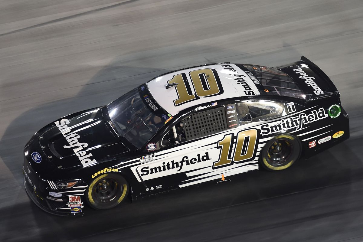Aric Almirola, driver of the #10 Smithfield Ford, drives during the NASCAR Cup Series All-Star Race at Bristol Motor Speedway on July 15, 2020 in Bristol, Tennessee.