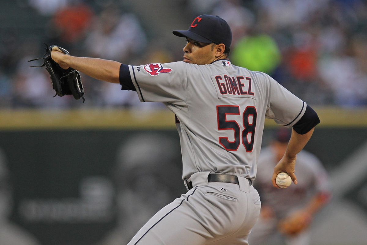 CHICAGO, IL - MAY 25: Starting pitcher Jeanmar Gomez #58 of the Cleveland Indians delivers the ball against the Chicago White Sox at U.S. Cellular Field on May 25, 2012 in Chicago, Illinois. (Photo by Jonathan Daniel/Getty Images)