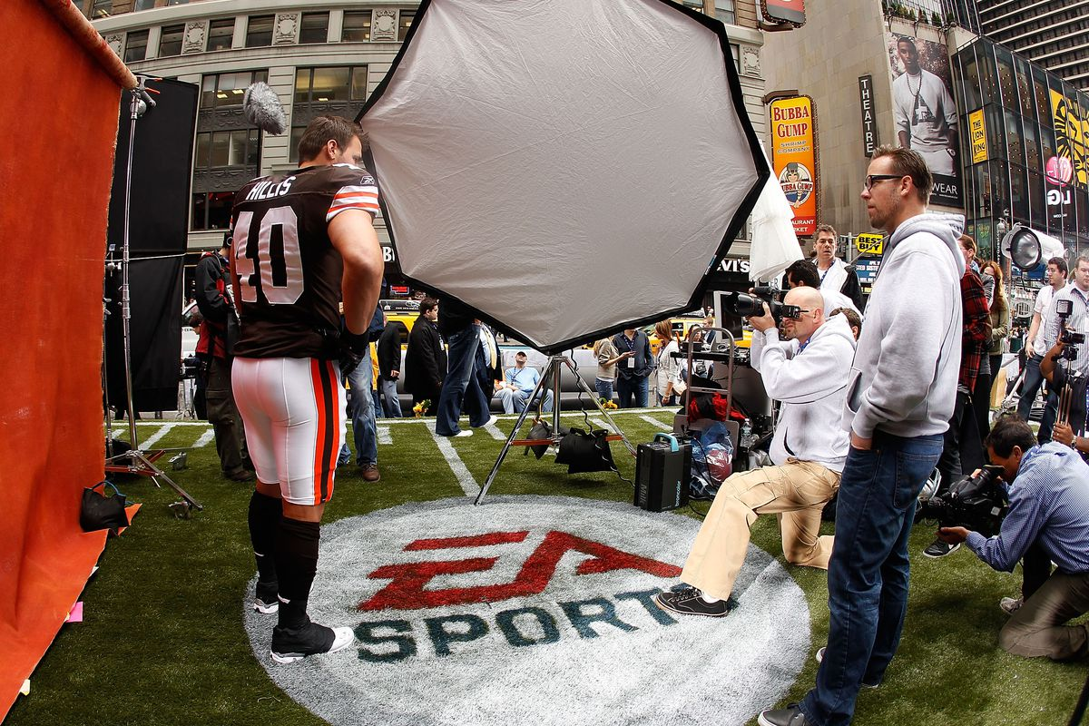 Peyton Hillis of the Cleveland Browns participates in a photo shoot for the cover of EA Sports Madden NFL 12 on April 28, 2011 in Time Square, New York City.