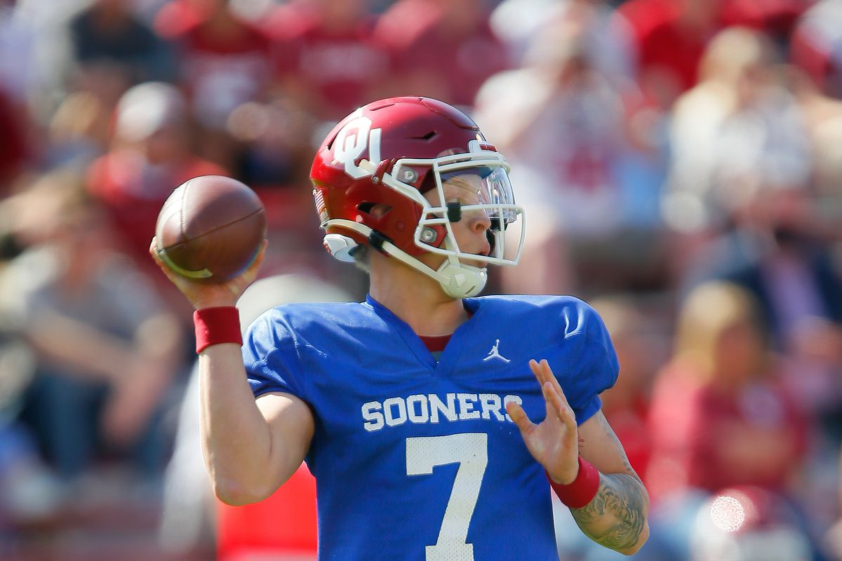 Quarterback Spencer Rattler of the Oklahoma Sooners prepares to throw during the team's spring game at Gaylord Family Oklahoma Memorial Stadium on April 24, 2021 in Norman, Oklahoma.