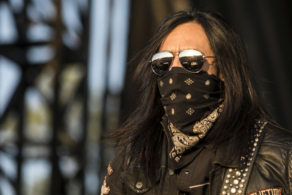 Sin Quirin, of Ministry, performs on day one of Riot Fest in Douglas Park on Friday. | Ashlee Rezin/Sun-Times
