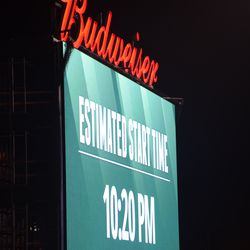 9:54 p.m. Game update on the right-field video board -