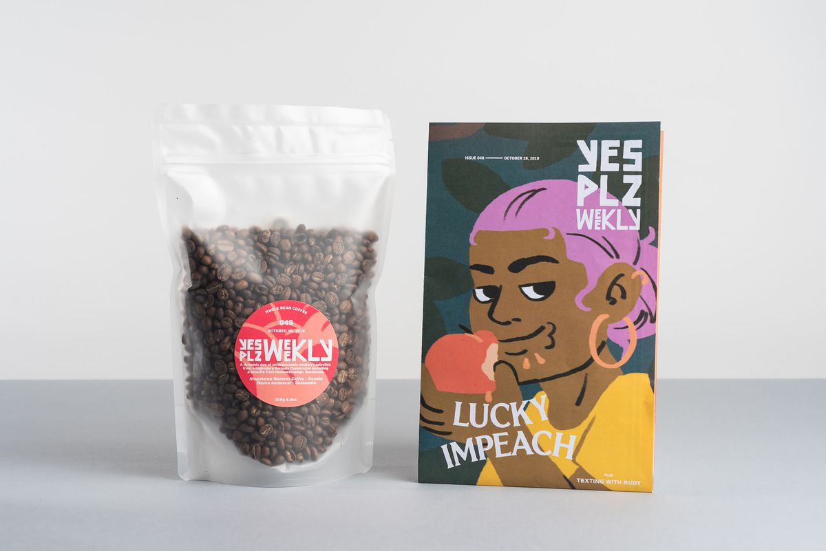 Coffee subscription from Yes Plz with beans and newsletter zine