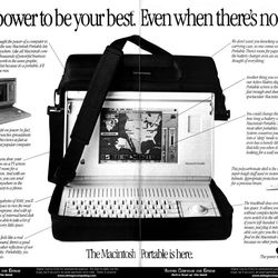"""""""The Macintosh Portable is here."""""""