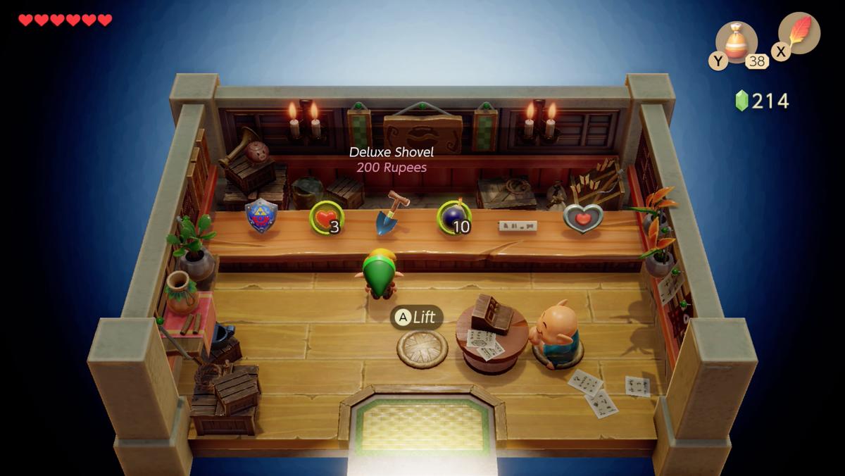 Link's Awakening Mabe Village shop buying a shovel
