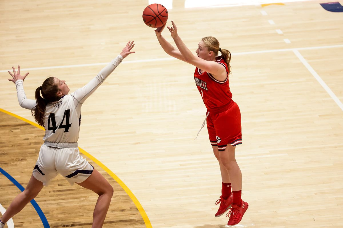 Springville's Kayla Jackson shoots over Lehi's Jamisyn Heaton in a 5A girls basketball semifinal game at Salt Lake Community College in Taylorsville on Friday, March 5, 2021.