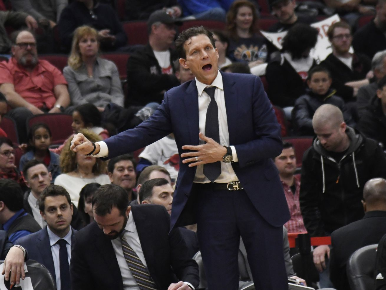20190324 Utah Jazz coach Quin Snyder gestures to his team during the second half of an NBA basketball game against the Chicago Bulls on Saturday, March 23, 2019, in Chicago. The Jazz won 114-83. (AP Photo/David Banks) David Banks FR165605 AP