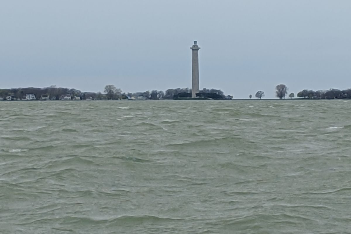 Perry Monument as seen on Lake Erie a year ago during a walleye-fishing trip. Credit: Dale Bowman
