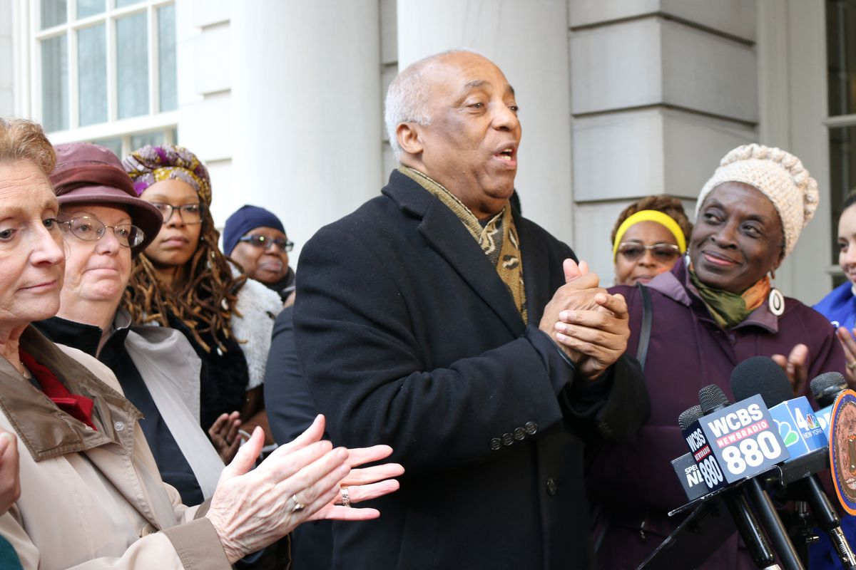 On the steps of City Hall, Assemblyman Charles Barron rallied for support to scrap the Specialized High School Admissions Test earlier this year.