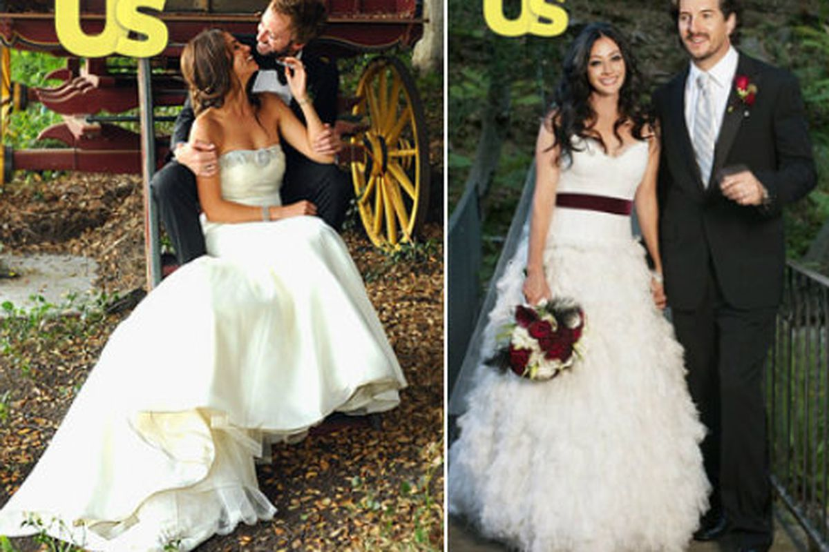 Battle of the wedding dresses shannen doherty vs nikki reed racked tabloid doesnt get an exclusive picture of the dress does it really happen luckily since us weekly scored pictures of both recent brides nikki reed junglespirit Choice Image