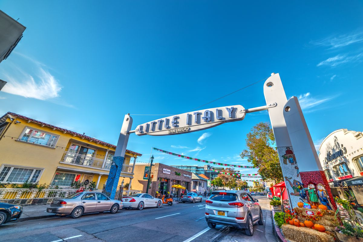 The Little Italy sign on India Street on a sunny day in the fall.