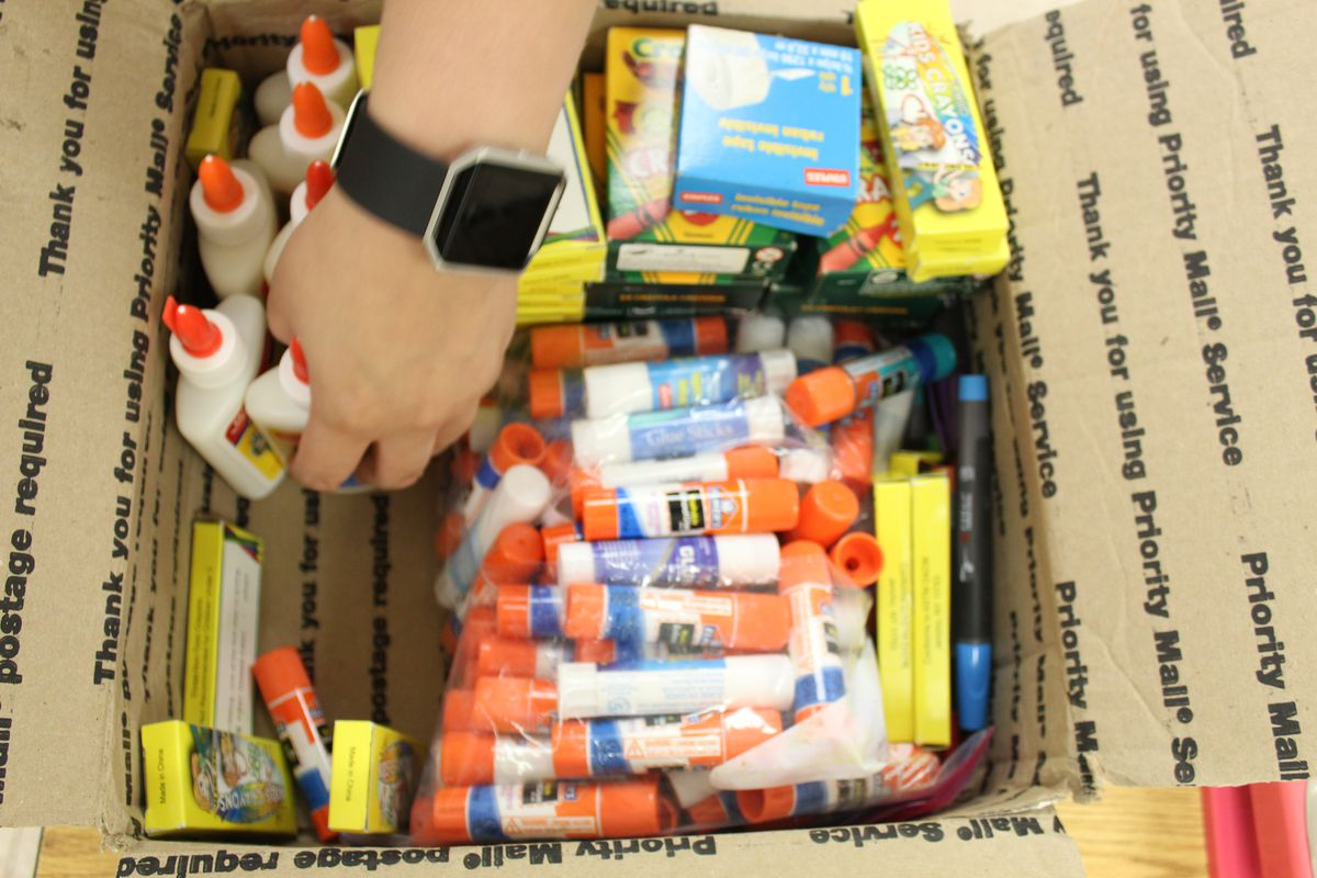 Extra glue sticks, pens, and pencils will allow Shivers' students to work in groups.