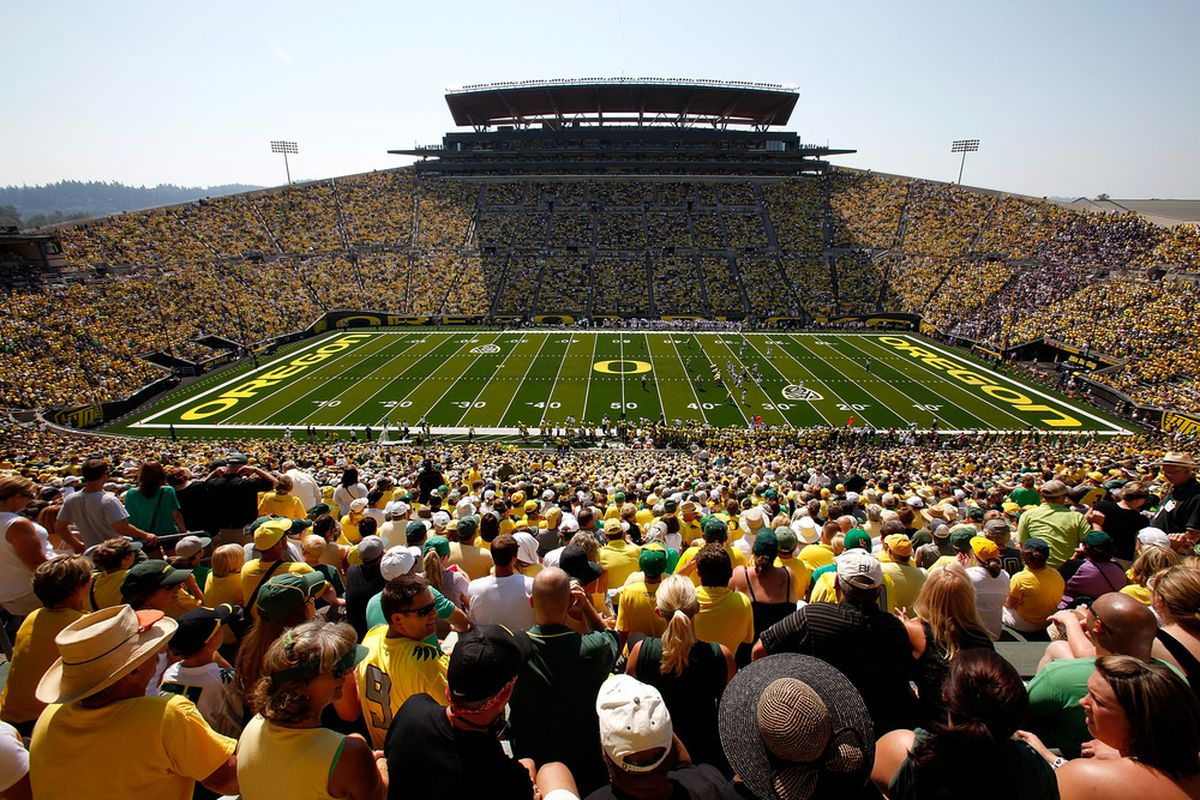 EUGENE, OR - SEPTEMBER 10:  A general view during the game betweenthe Oregon Ducks and the Nevada Wolf Pack on September 10, 2011 at the Autzen Stadium in Eugene, Oregon.  (Photo by Jonathan Ferrey/Getty Images)