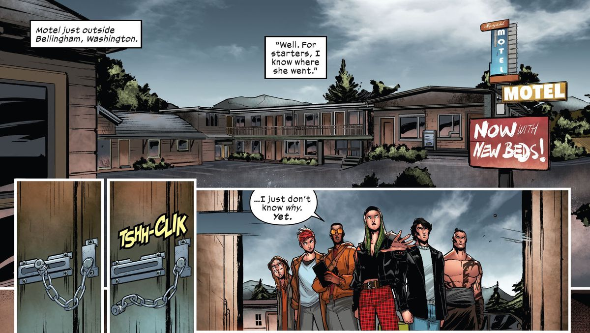 """""""I know where she went,"""" Polaris says as she opens a motel door, flanked by the rest of X-Factor, """"I just don't know why yet."""" in X-Factor #1, Marvel Comics (2020)."""
