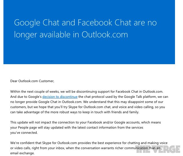 Outlook.com chat closure