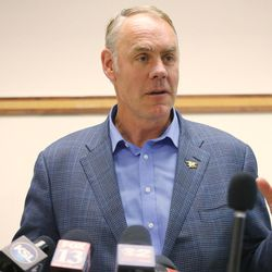 Secretary of the Interior Ryan Zinke speaks to the media during a listening tour of Utah monuments in Salt Lake City on Sunday, May 7, 2017.