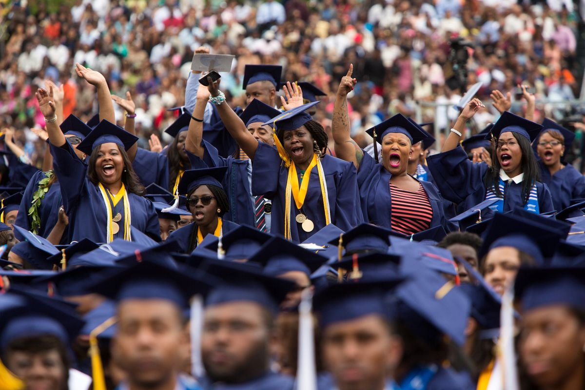 Graduates of historically black Howard University at the commencement ceremony.