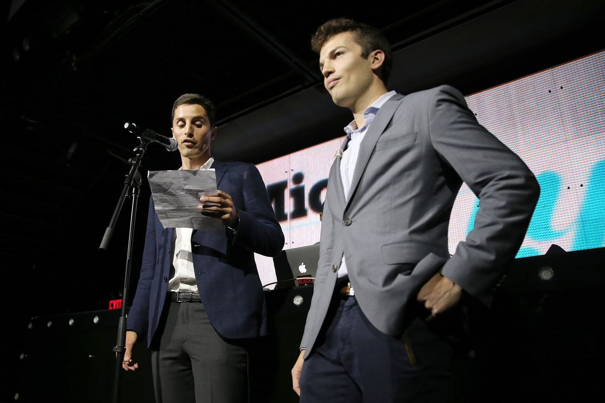 Mic.com co-founder and CEO Chris Altchek, left, onstage with co-founder and Editor at Large Jake Horowitz