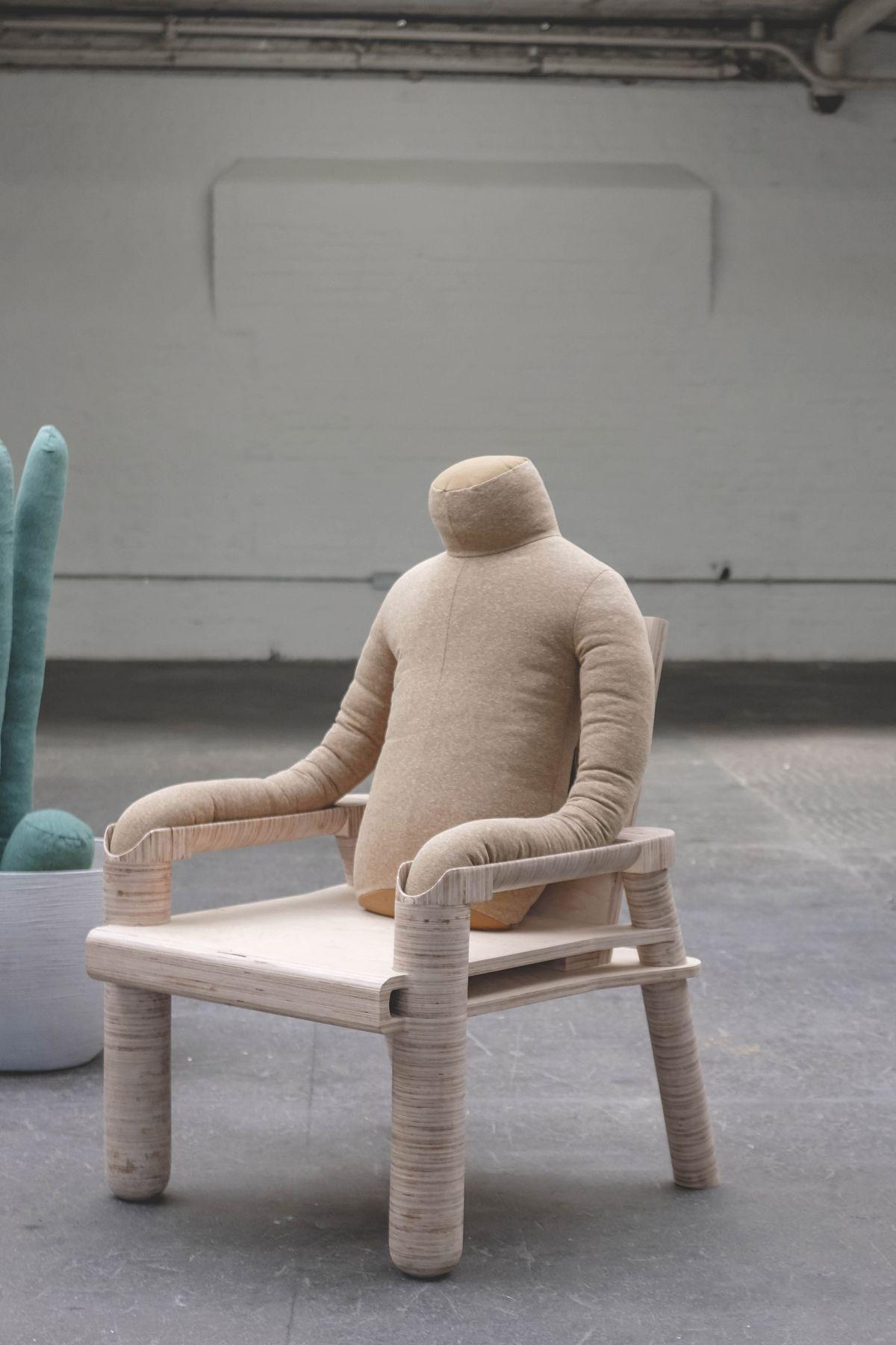Headless pillow on chair