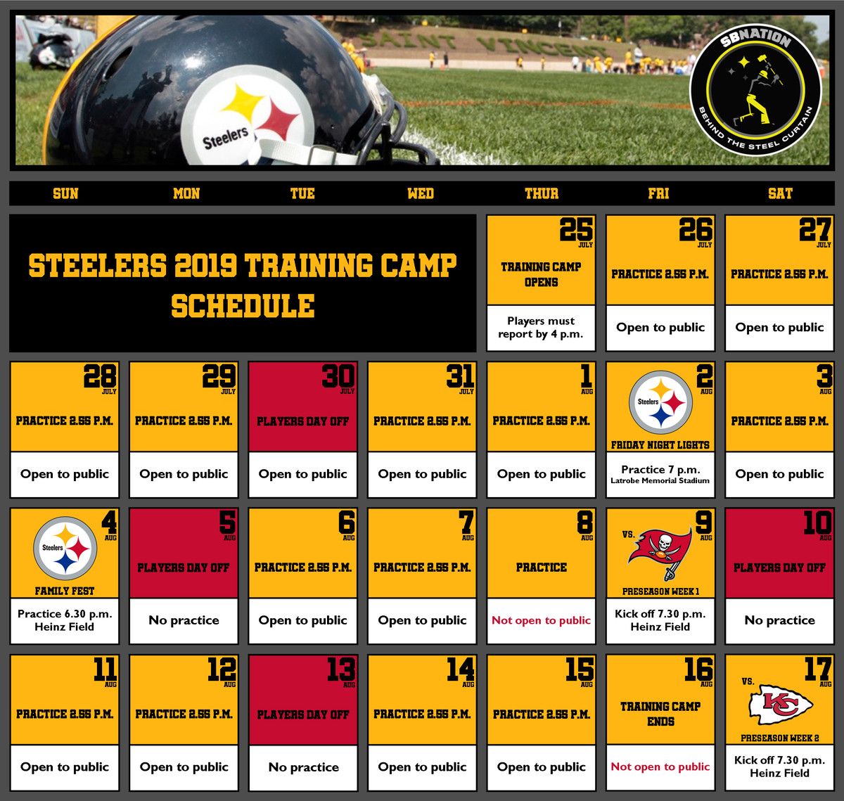 1b0a8aa1 Pittsburgh Steelers announce complete 2019 training camp schedule ...