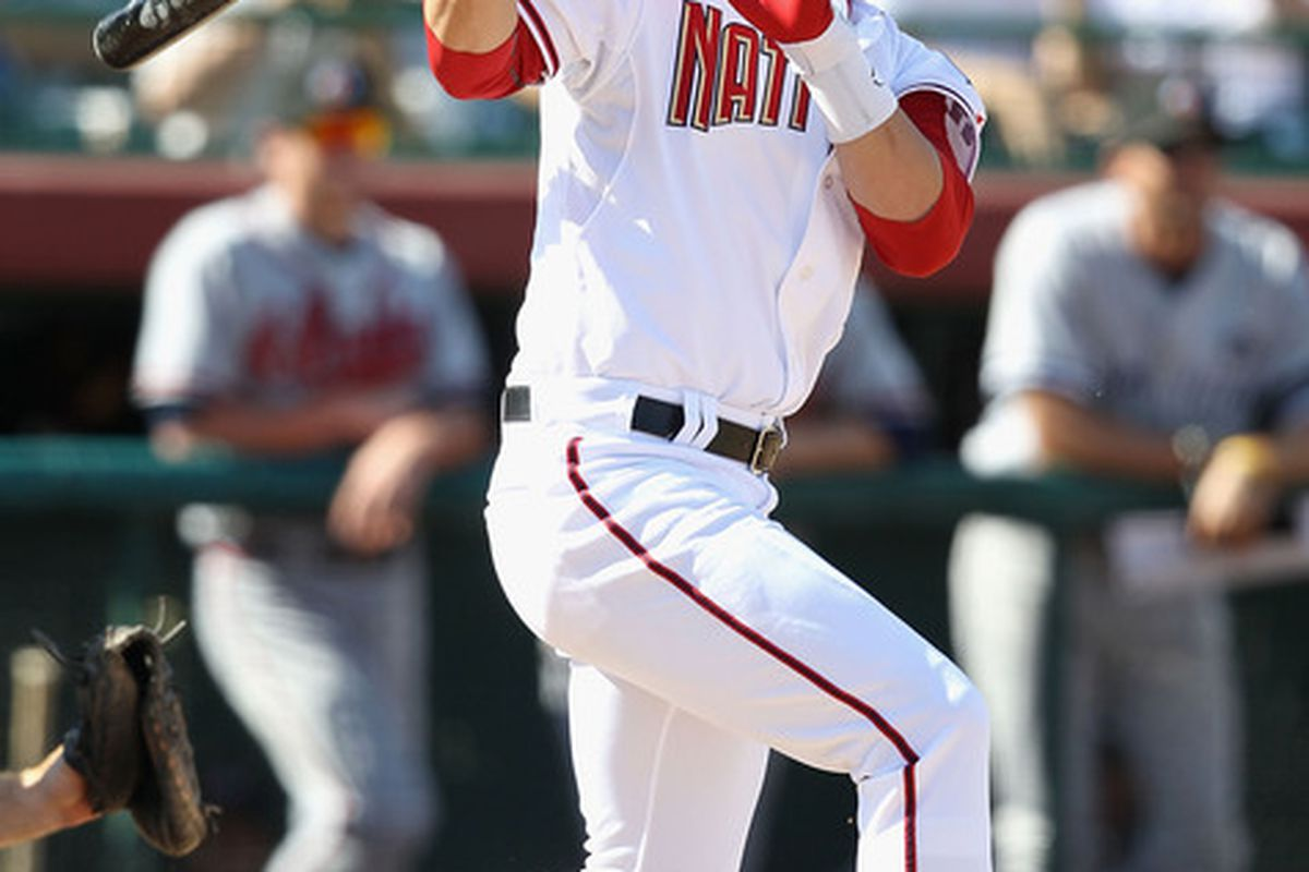 Washington Nationals' prospect Bryce Harper #34 was named the no.3 prospect in baseball by MLB.com last night. (Photo by Christian Petersen/Getty Images)