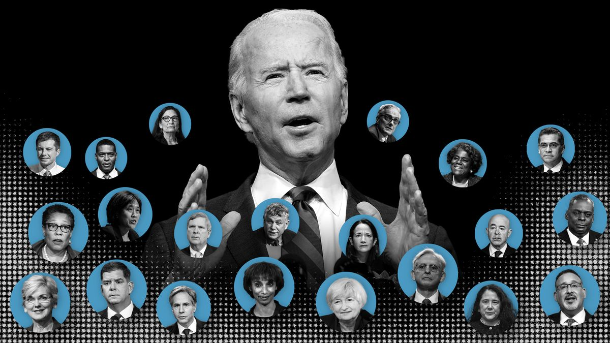 Biden surrounded by his Cabinet nominees in circle headshots.