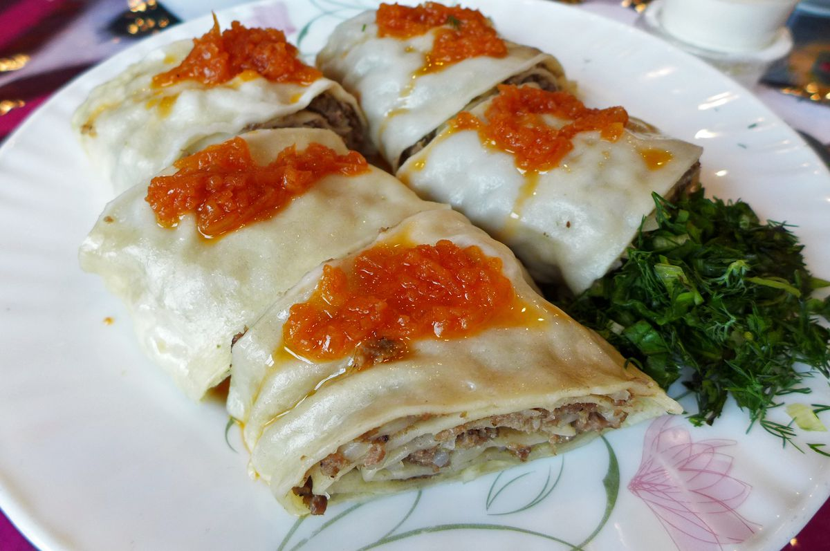 Hanum is a meat filled rolled noodle.