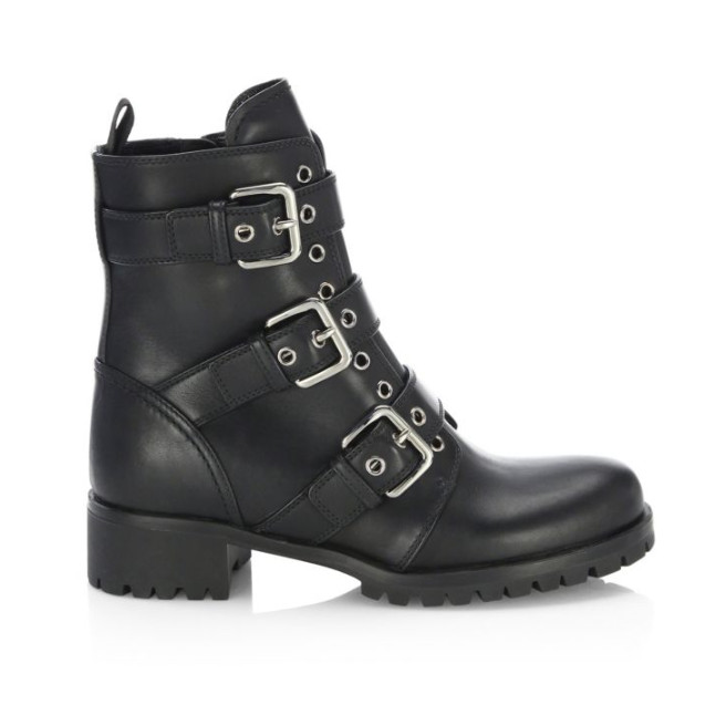 Prada Triple-Strap Grommet Leather Boots, $950