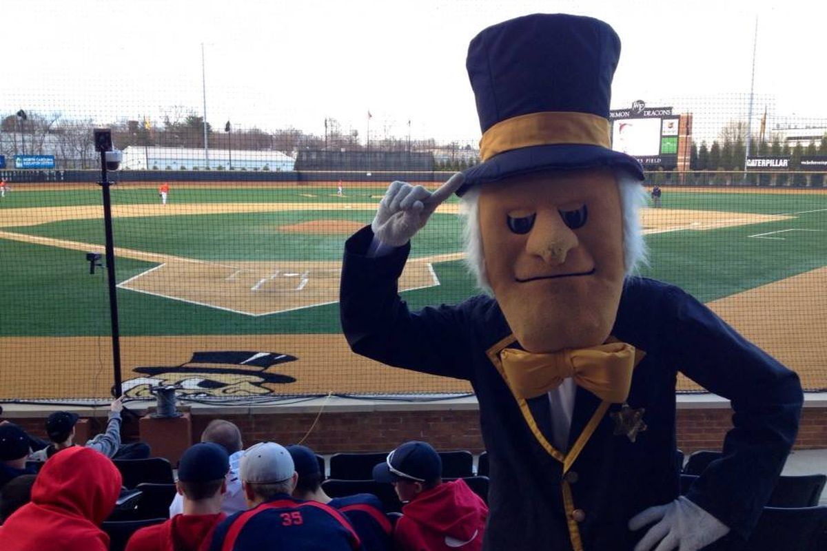 The Deacon mascot was willing to pose for a photo during their 4-3 triumph over Clemson on Friday.