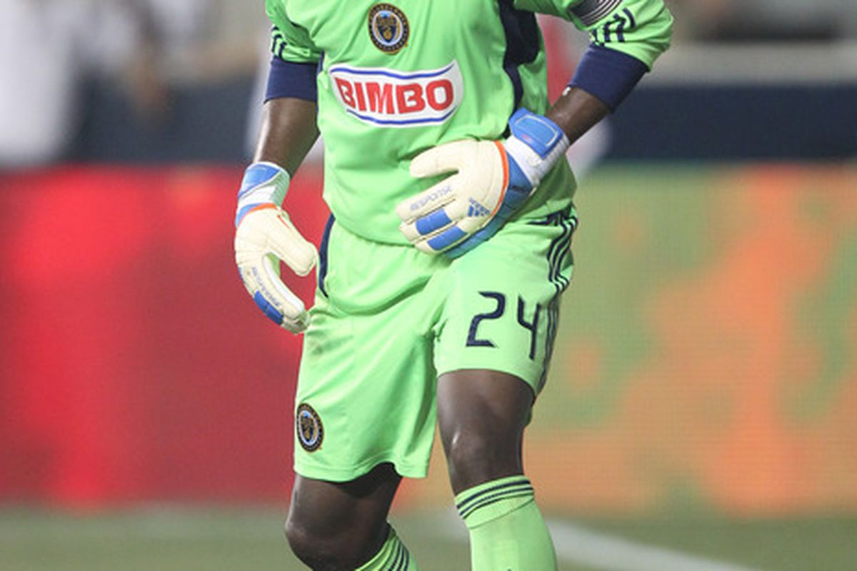 CHESTER, PA - JULY 20: Goalkeeper Thorne Holder #24 of the Philadelphia Union guards the net during a game against Everton at PPL Park on July 20, 2011 in Chester, Pennsylvania. The Union won 1-0.  (Photo by Hunter Martin/Getty Images)
