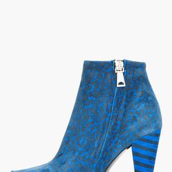"""<a href=""""http://www.ssense.com/women/product/proenza_schouler/blue_suede_printed_ankle_boots/76289"""">Proenza Schouler blue suede printed ankle boots</a>, $214.40 (was $895)"""