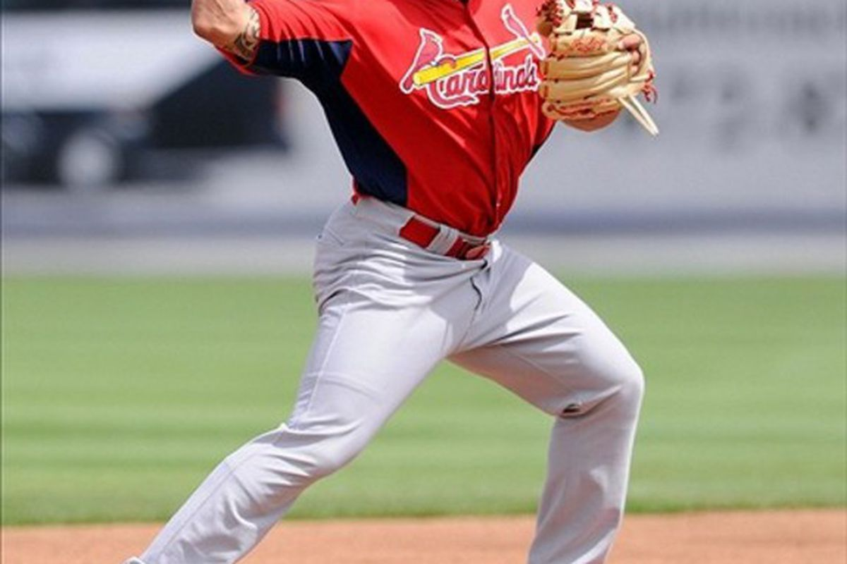 March 06, 2012; Port St Lucie, FL, USA;   St. Louis Cardinals second baseman Kolten Wong (89) warms up before the spring training game against the New York Mets at Digital Domain Park. Mandatory Credit: Brad Barr-US PRESSWIRE