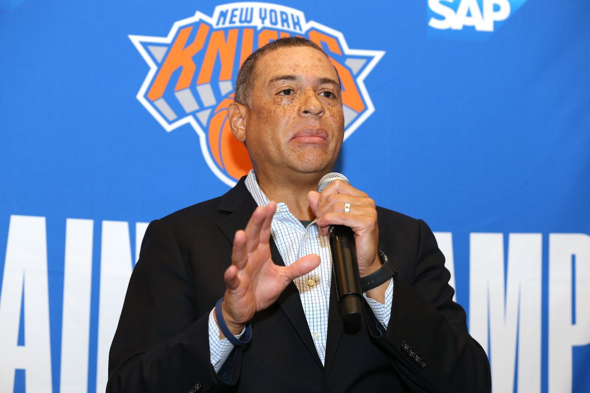New York Knicks general manager Scott Perry speaks to the media during media day at the MSG training center in Greenburgh, NY.