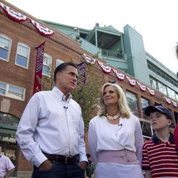FILE - In this April 16, 2012 file photo, Republican presidential candidate, former Massachusetts Gov. Mitt Romney and his wife Ann, are seen outside Fenway Park baseball stadium in Boston.