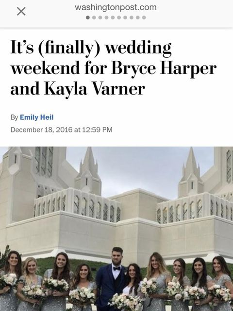 Bryce Harper Wedding.Bryce Harper Signs New Deal Posts Viral Video From His Lds Wedding