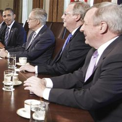 President Barack Obama meets with Congressional leadership in the Cabinet Room of the White House in Washington, Thursday, July 7, 2011, to discuss the debt. From left are, House Minority Whip Steny Hoyer of Md., House Majority Leader Eric Cantor of Va., House Minority Leader Nancy Pelosi of Calif., House Speaker John Boehner of Ohio, the president, Senate Majority Leader Harry Reid of Nev. Senate Minority Leader Mitch McConnell of Ky., Senate Majority Whip Richard Durbin of Ill., and Senate Minority Whip Jon Kyl of Ariz.