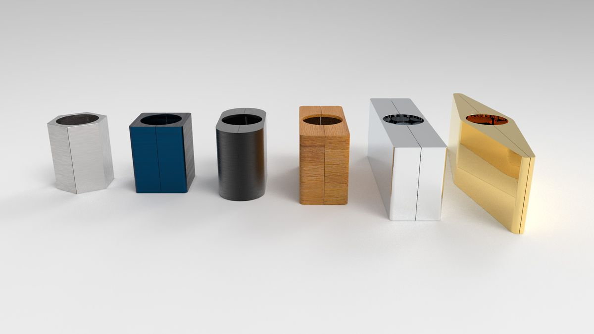 Row of bricks with different shapes and materials