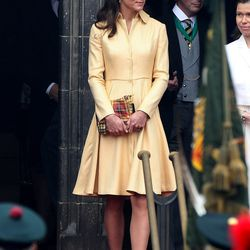 Leaving a ceremony at St Giles Cathederal on July 5th, 2012 in an Emilia Wickstead coatdress and Whiteley hat.
