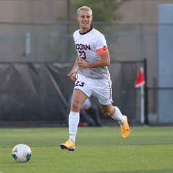 The Rider Broncs take on the UConn Huskies in a college men's soccer game at Al Marzook Field in Hartford, CT on August 30, 2019.