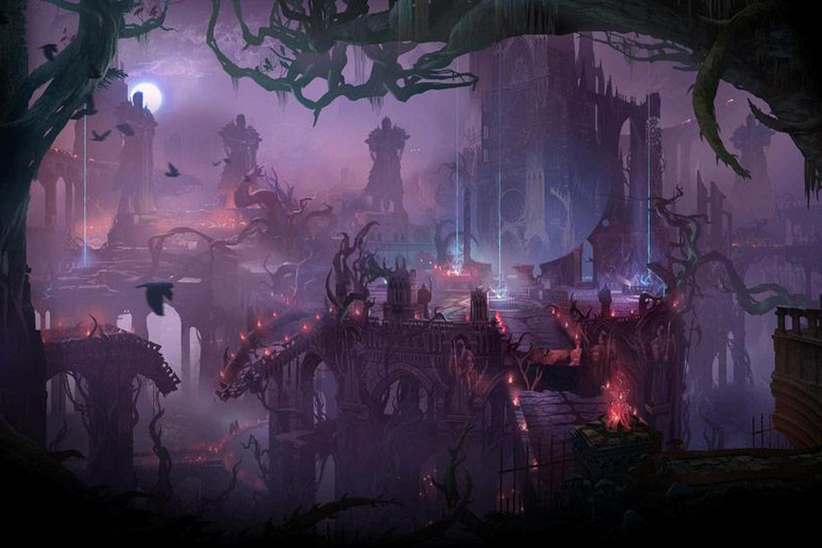 Beyond the trees, the purple-hued map of Twisted Treeline waits